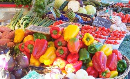 knobbly vegetables at an open air market