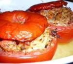 tomatoes stuffed with rice and pesto