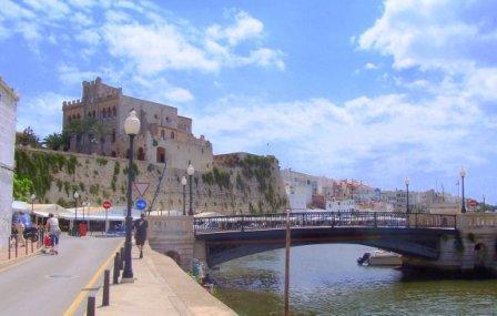 Ciutadella Town Hall atop harbour wall
