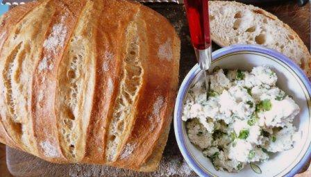 artisanal boule, homemade ricotta with fresh oregano