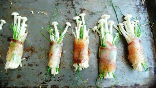 enoki wrapped in pancetta with chives