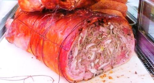 whole porchetta seen from the back in Vieux Nice